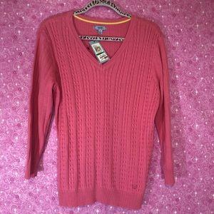 IZOD New Pink L V-neck Long Sleeve Sweater